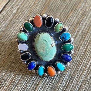 Navajo Multi Stone Sterling Cluster Ring Size 8.5